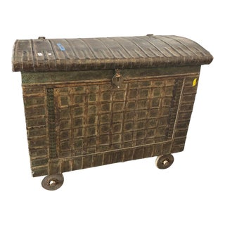 Antique Dowry Indian Trunk On Wheels For Sale