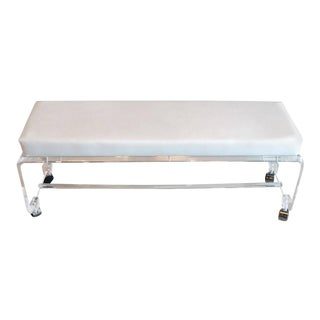 Lucite White Leather Waterfall End of Bed Bench Seat