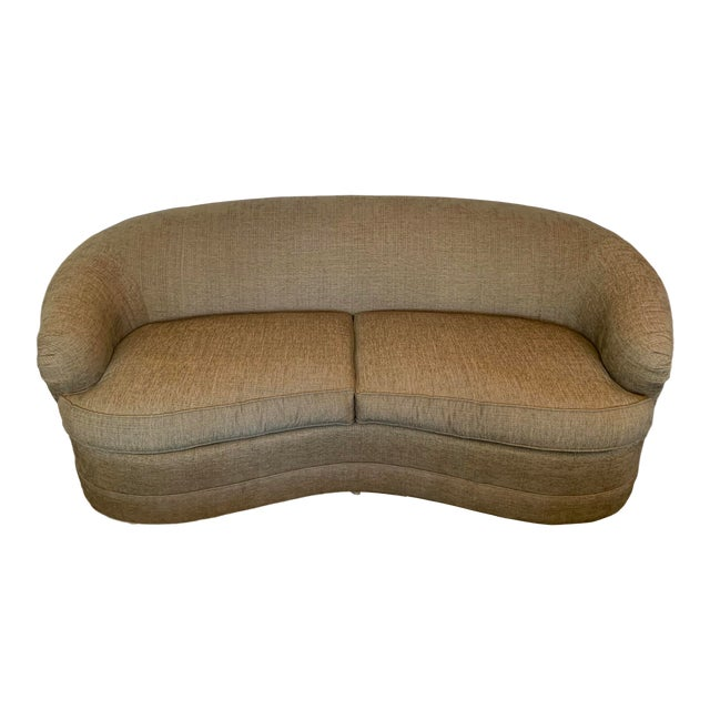 Drexel Heritage Kidney Bean Shape Olive-Green Curved Sofa For Sale