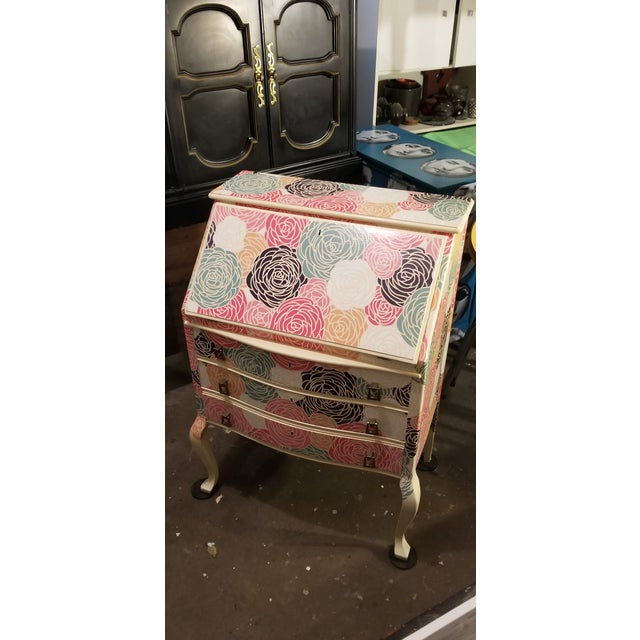 Blue Peony Clad Drop Leaf Desk For Sale - Image 8 of 8