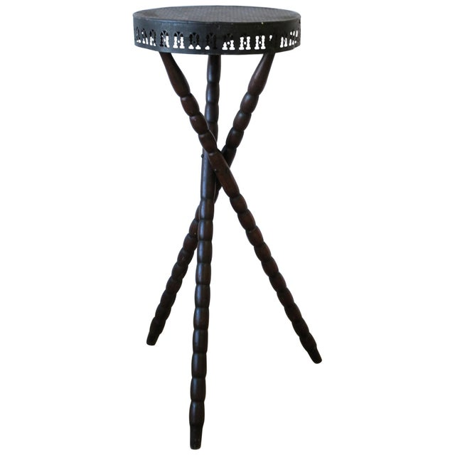 20th Century Rustic Black and Brown Tripod Side Table For Sale - Image 13 of 13