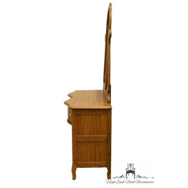 Pulaski Furniture Keepsakes Collection Oak Dresser & Wishbone Mirror For Sale - Image 9 of 13