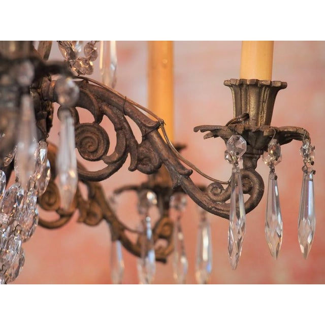 Bronze Antique French Empire Crystal and Bronze Eight-Light Chandelier For Sale - Image 7 of 7
