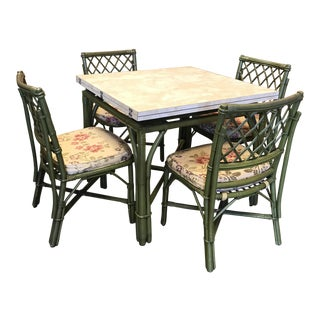 Vintage Bamboo Chinoiserie Dining Set - Set of 5 For Sale
