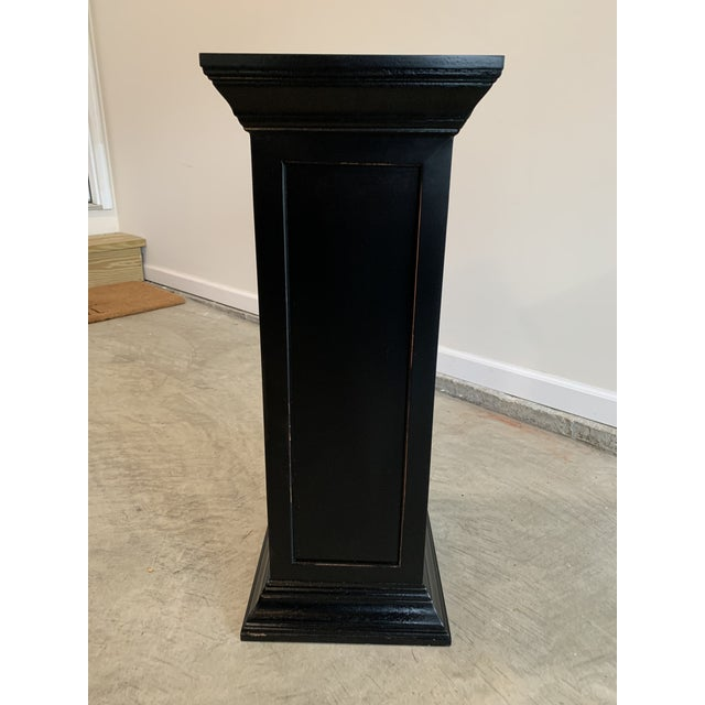 1970s Vintage Squared Detailed Wood Rustic Black Plant Stand Column Pedestal With Widened Ends For Sale - Image 5 of 6