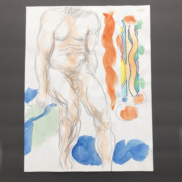 Watercolor Male Nude Painting and Collage by James Bone For Sale - Image 7 of 7