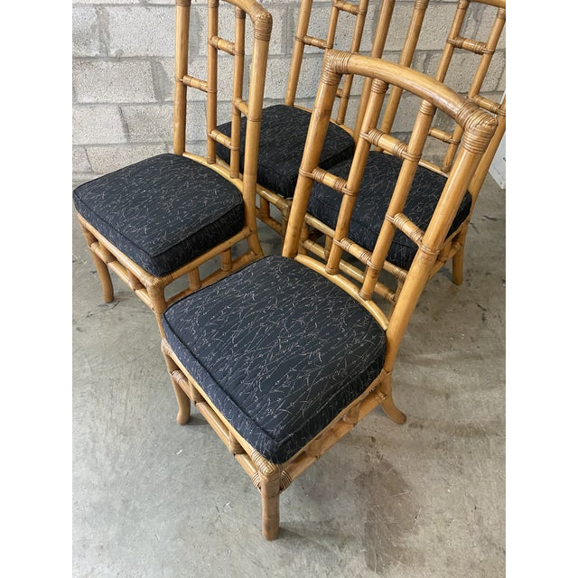 Vintage Coastal Bamboo Grid Dining Chairs - Set of Four For Sale In Miami - Image 6 of 8