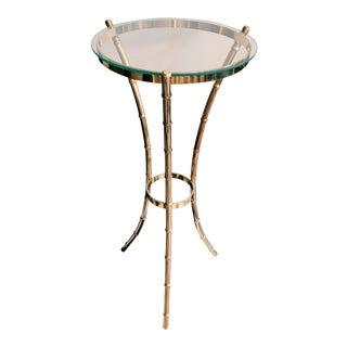 Vintage Hollywood Regency Round Gold Tripod Side Table For Sale