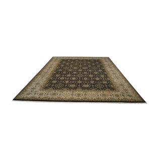"Hand Tied Fine Quality Black Tan & Gold Large Room Size Persian Rug 14'5""x 10' For Sale"