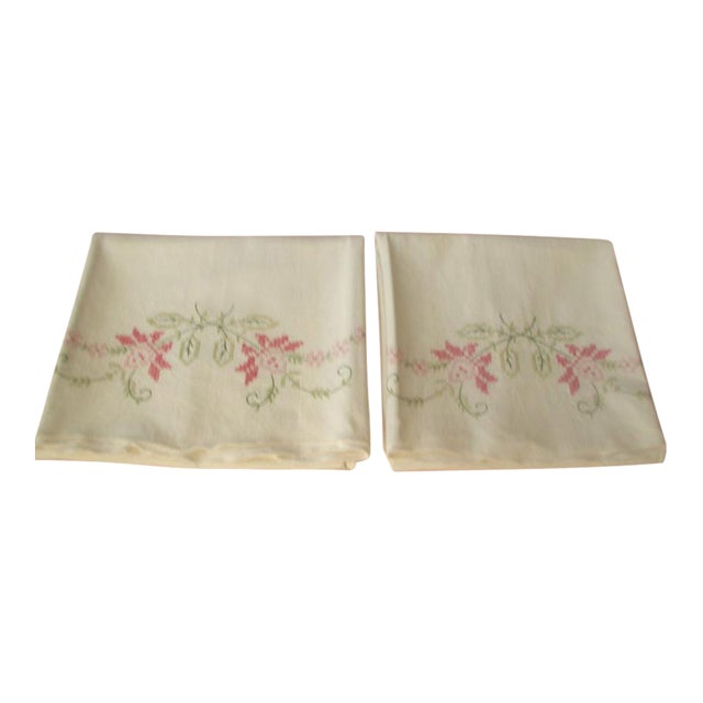 1950's Hand Embroidered Pillow Cases - A Pair For Sale