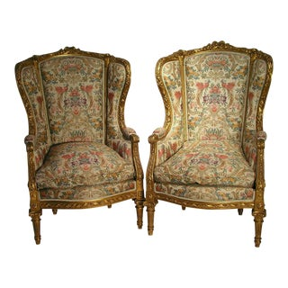 Antique Louis XVI Bergere Wing Chairs- A Pair For Sale
