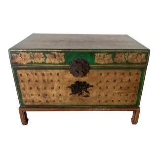 19th Century Antique Chinese Leather Trunk For Sale