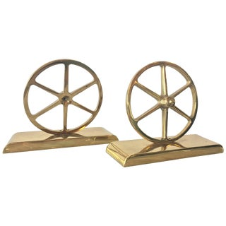 Brass Wagon Wheel Bookends by Virginia Metalcrafters - a Pair For Sale