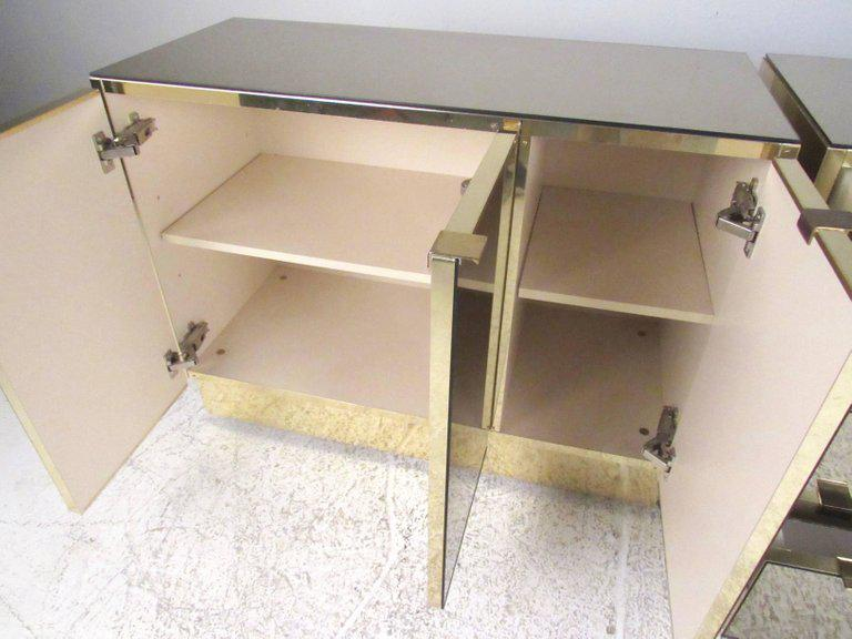 This Matched Pair Of Ello Furniture Vintage Cabinets Feature Iconic  Mirrored Finish With Stylish Brass Trim