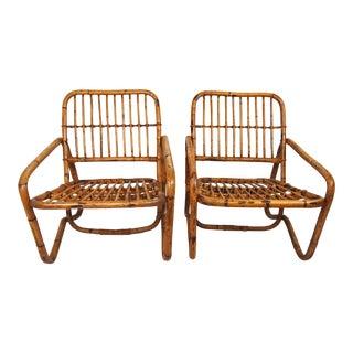 Vintage Rattan Club Chairs- A Pair