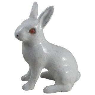 20th Century French Bavent White Terra Cotta Rabbit Figurine For Sale