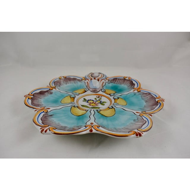 St. Clément French Faïence Turquoise Floral Oyster Plate For Sale - Image 4 of 12