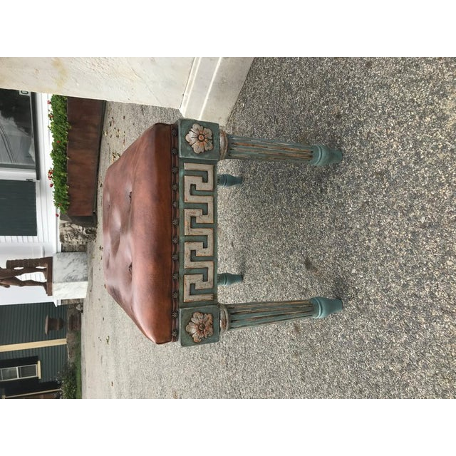 Neoclassical Pair of Neoclassical Painted Stools With Greek Key For Sale - Image 3 of 7