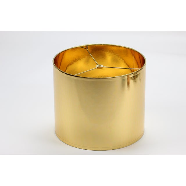 Brass Small High Gloss Gold Drum Lampshade For Sale - Image 7 of 9