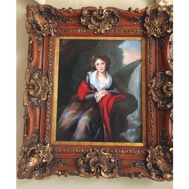 Paint Vintage Oil Portrait of a Contessa For Sale - Image 7 of 11