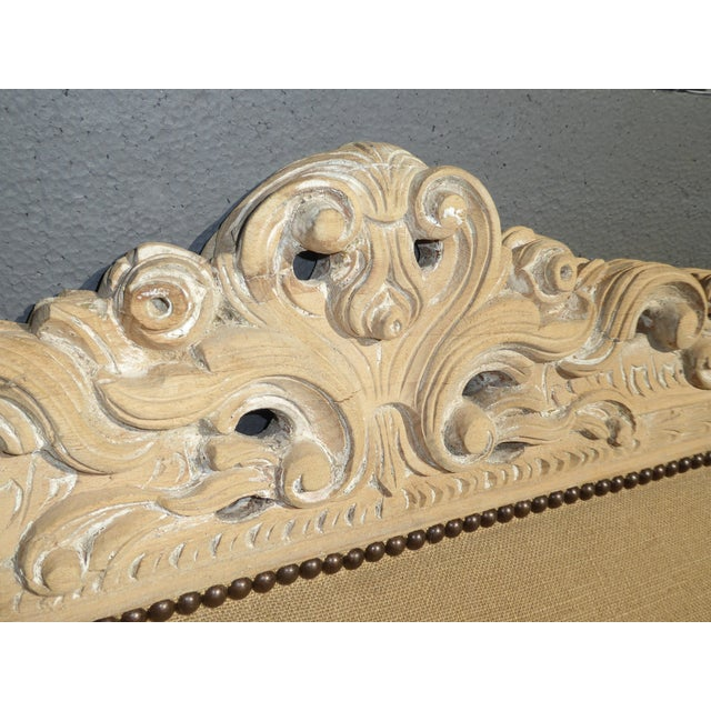 French Provincial Burlap & Carved Wood Settee For Sale - Image 4 of 10
