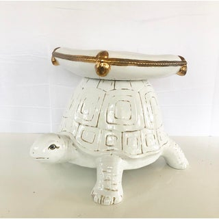 White Glazed Ceramic Turtle Garden Stool With Gold Accents Preview