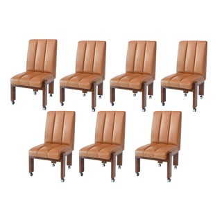 Rare Set of Ten Paul Evans Mahogany and Leather Chairs