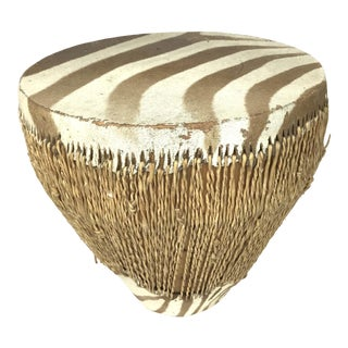 1970s African Zebra Hide Tribal Drum Table For Sale