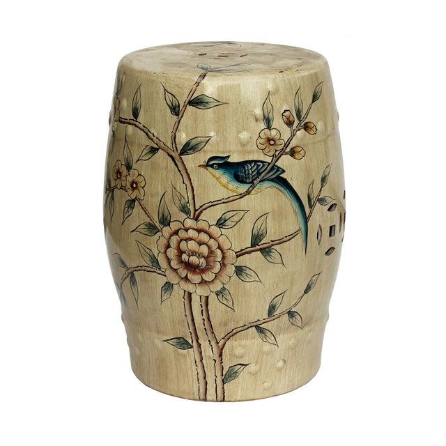 Handmade Beige Porcelain Bird Flower Round Stool Ottoman - Image 7 of 7