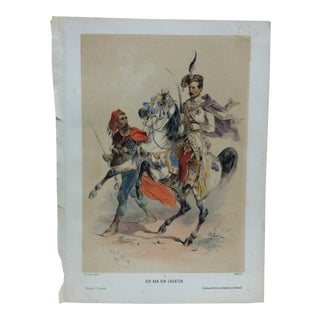 "Mid 19th Century Antique Josef Heicke ""Der Ban Von Croatien No. 1"" Hand-Colored Print For Sale"
