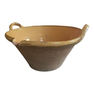 19th Century French Yellow Glazed Tian Confit Pottery Bowl For Sale