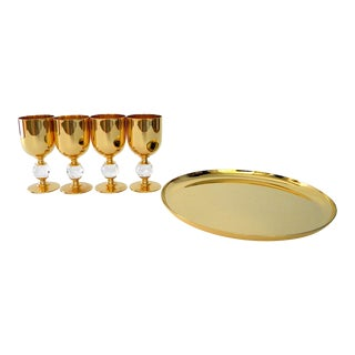 Valerio Albarello Ep Brass Vodka Shot Glasses Set on a Serving Tray With Swarovski Crystals For Sale