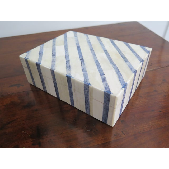Blue and White Bone Box For Sale - Image 4 of 4