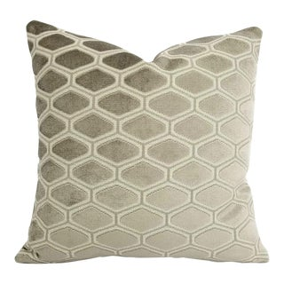 Kravet Couture Platinum Cut Velvet Pillow Cover For Sale