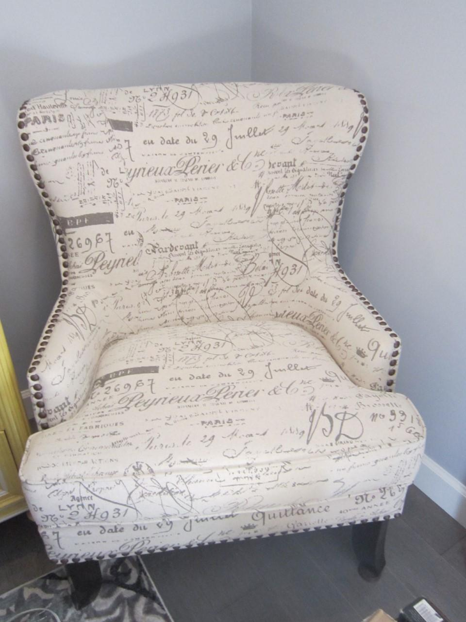 French Script Wing Chair With Nailhead Trim   Image 2 Of 3
