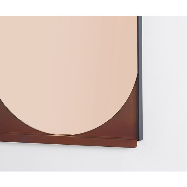 Contemporary Contemporary Blackened Steel and Patinated Bronze Slip Mirror in Peach For Sale - Image 3 of 6