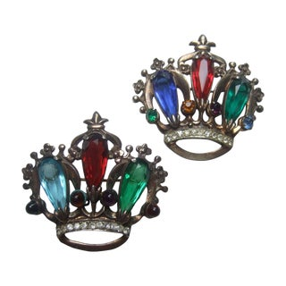 Sterling Crystal Pair of Crown Brooches C 1950 For Sale