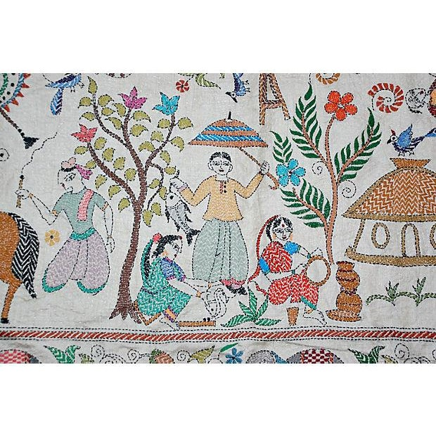 A beautiful and sophisticated large stitched silk Kantha embroidery by the late Sreelata Sarkar. Silk embroidery on silk...