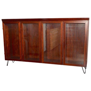 Midcentury Redwood Credenza From Skovby Mounted on High Hairpin Legs For Sale