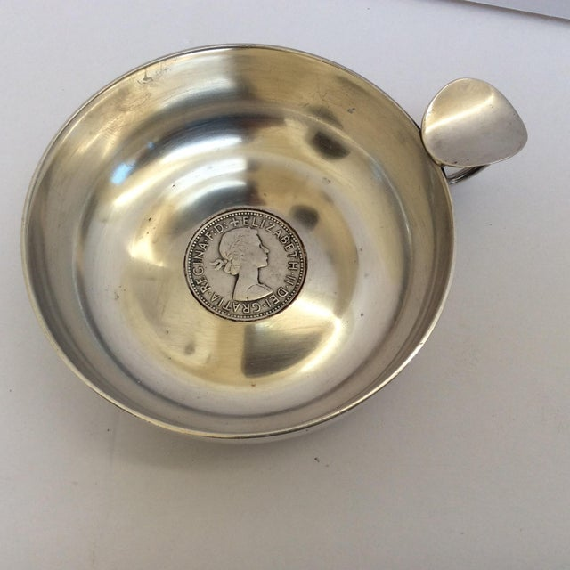 Metal Silver Wine Taster With Antique Silver Coin For Sale - Image 7 of 9
