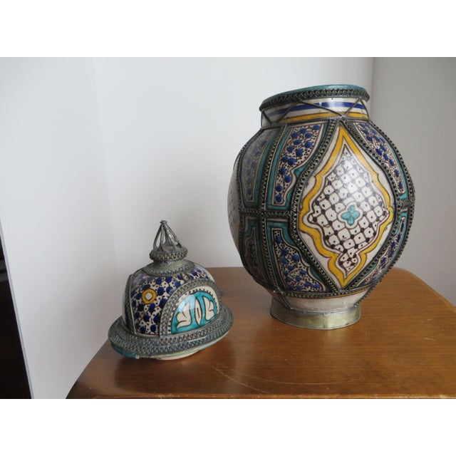 Boho Chic Antique Moroccan Jar with Filigree For Sale - Image 3 of 11