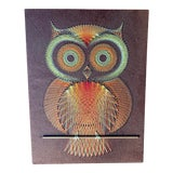 Image of Mid Century Owl String Art, Large Wall Hanging For Sale