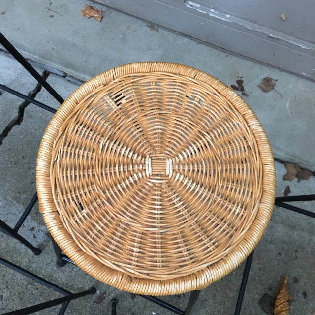 Tan 1960s Vintage Danny Ho Fong Iron and Wicker Bar Stools - Set of 6 For Sale - Image 8 of 11