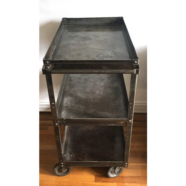 Antique Industrial Metal Trolley Bar Cart For Sale - Image 4 of 4