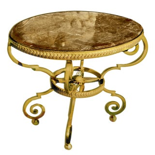 Italian Directoire Style Gilt Iron Gueridon Table With Marble Top For Sale