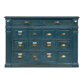 French Antique Teal Apothecary Cabinet For Sale
