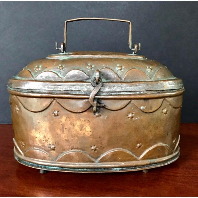 Green Vintage Turkish Copper Bath Lidded Soap Box For Sale - Image 8 of 8