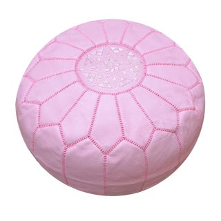 Modern Baby Pink Moroccan Handmade Leather Pouf For Sale