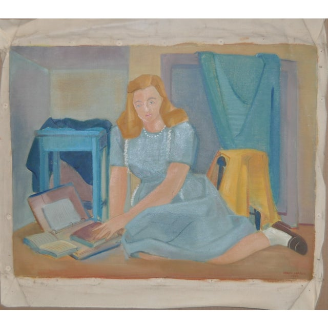 Nancy Larsen Vintage School Girl Painting C.1940's - Image 2 of 6