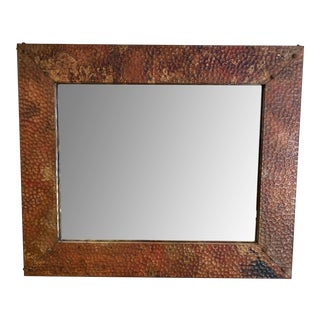 Handcrafted Hammered Copper Framed Wall Mirror For Sale